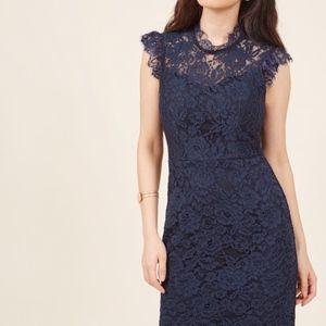 Modcloth Mock Neck Lace Sheath Dress Navy
